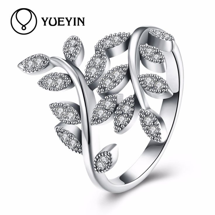 YUEYIN Hot Sale 925 Silver Leaf Rings For Women With Crystal Compatible European Fit Original Engagement Ring Jewelry Present
