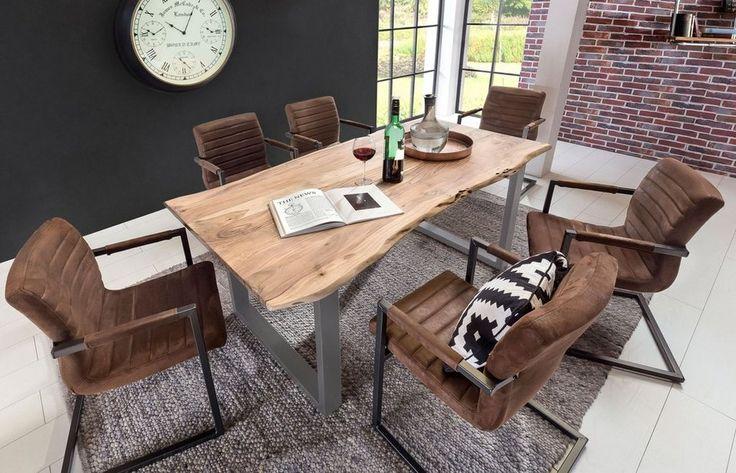 (LIEFERBAR IN 7 WOCHEN!)    Kasper-Wohndesign Esstisch aus massiver Akazie mit Baumkante Fuß silber »LORE«  Esstisch mit natürlicher Baumkante bei OTTO    500€ + 20€ Versand
