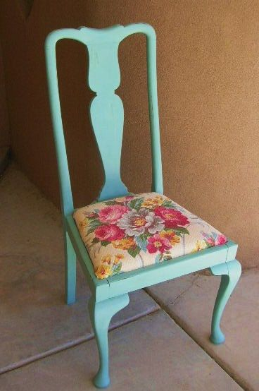 Chippy Paint Barkcloth Vintage ChairItem F12101415 by nmverde