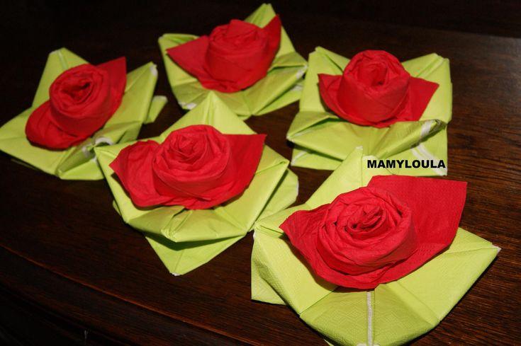 """Pliage+de+serviette+""""rose"""""""