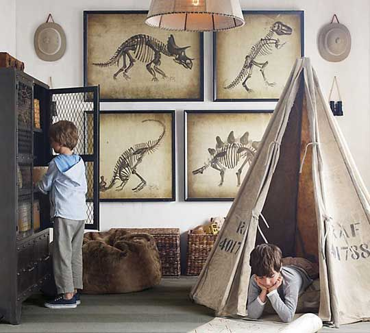 I love this teepee and the dinosaur portraits, Restoration Hardware Baby & Child, http://www.rhbabyandchild.com
