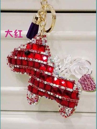 Horse key chain   Cute Crystal  horse   Leather tossel car key ring Creative Women handbag charm  bag bug pendant