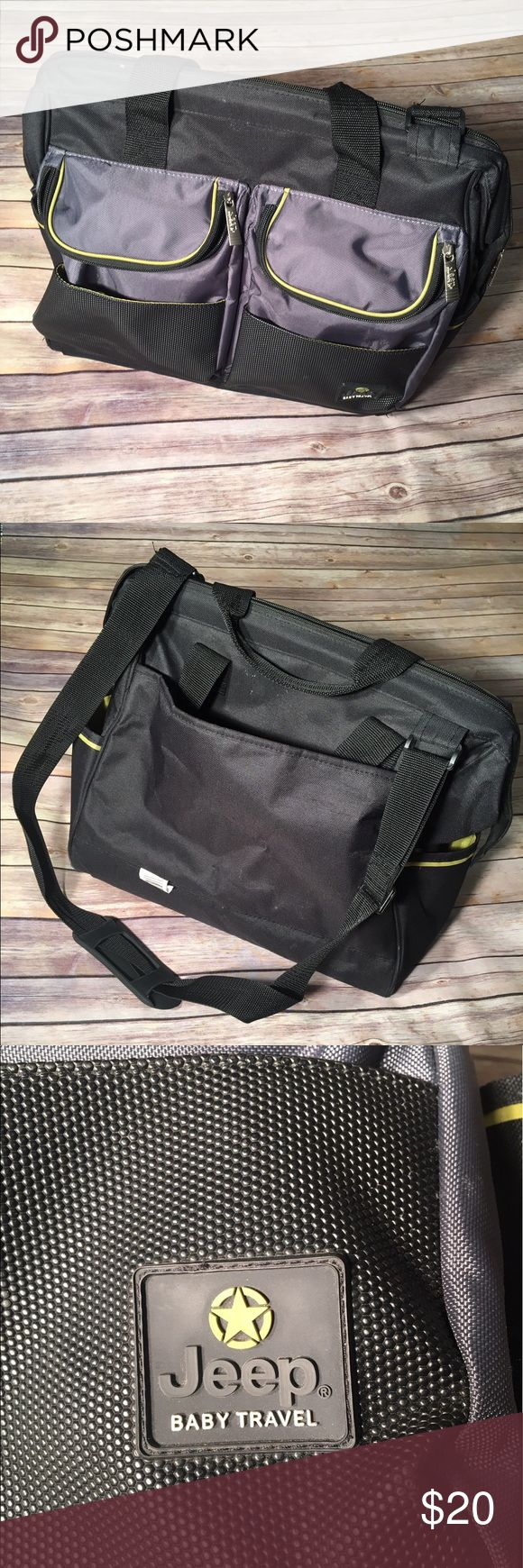 """Jeep Sport Black And Lime Pocket Duffle Diaper Bag Jeep sports pockets duffle diaper bag zip opens to a spacious and multi pocket main compartment. The bag features the Jeep smart organizer system including exterior wipes case dispenser, insulated zip close bottle pocket, and pockets and storage for all of mom's and baby's needs.  Product Details: Made of 100% Polyester Measures approx 17"""" by 10"""" by 5"""" Large spacious main storage compartment Perfect pockets organizer system Made in China…"""