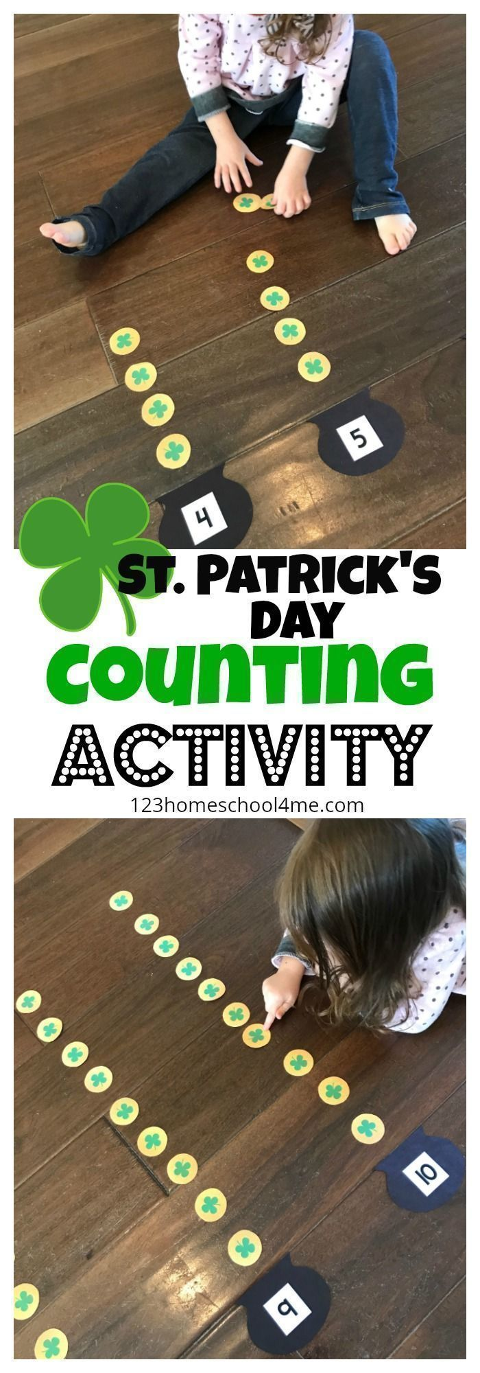 FREE St Patrick's Day Count to 20 - this is such a fun hands on math activity for toddler, preschool, kindergarten, and first grade kids to practice counting, and math during mach or as math center #mathforfirstgrade #mathforkindergarten #mathpractice #mathforkids #mathfortoddlers #mathforpreschoolers