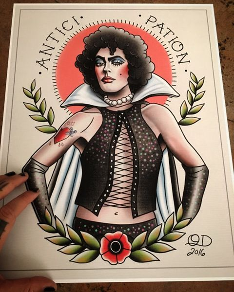 Image of Dr Frank N. Furter Rocky Horror Picture Show Tattoo Flash Art by Quyen Dinh