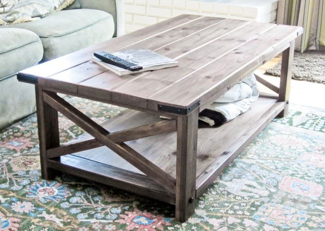 Ana White | Rustic X Coffee Table - perhaps could cut cost by using good condition pallet wood, at least for the top