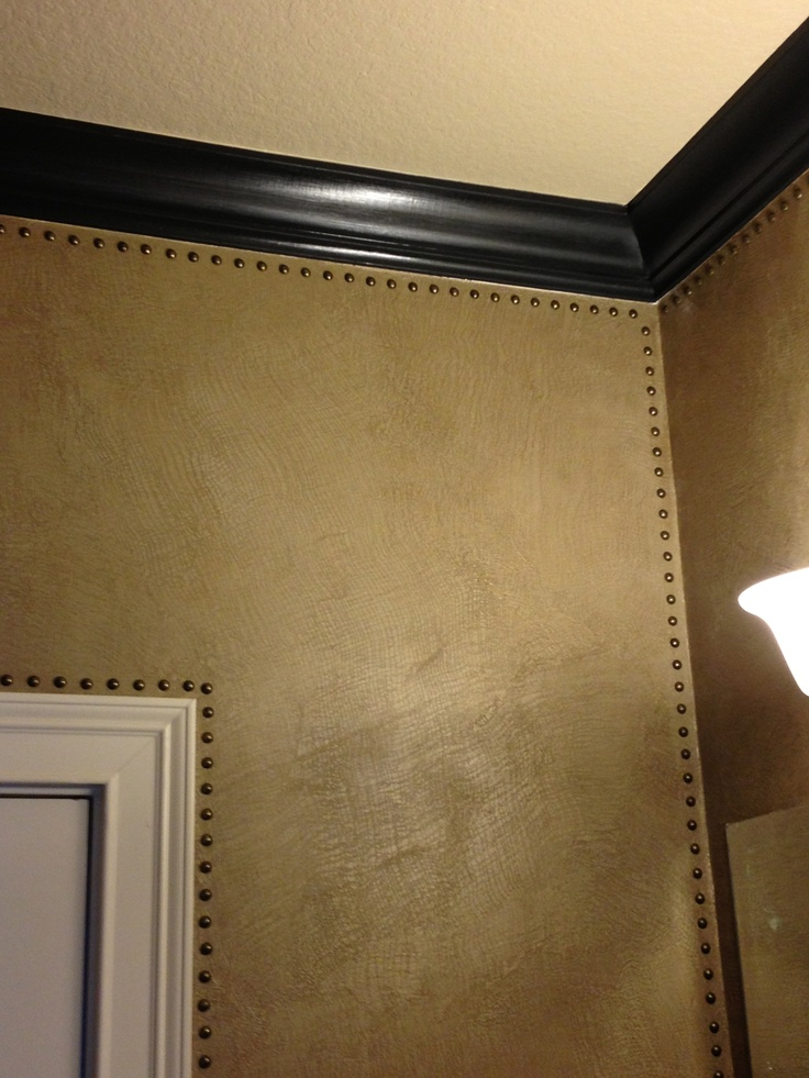 Modern Masters Metallic Plaster and glaze with decorative nail heads on walls by Karla Boddie - so cool!