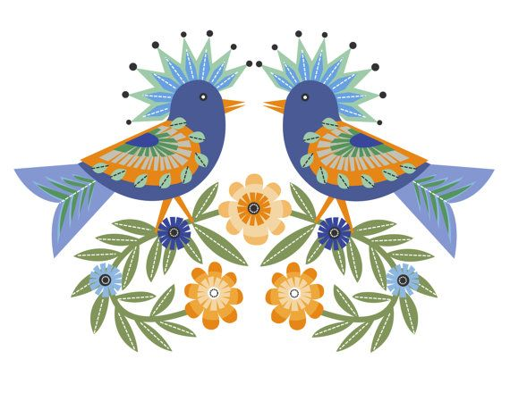 CbyC Original Illustration - Folk Art Birds Limited Edition Print