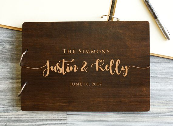 Novel Wedding Gifts: Wedding Guest Book, Rustic Guestbook, Wood Guest Book