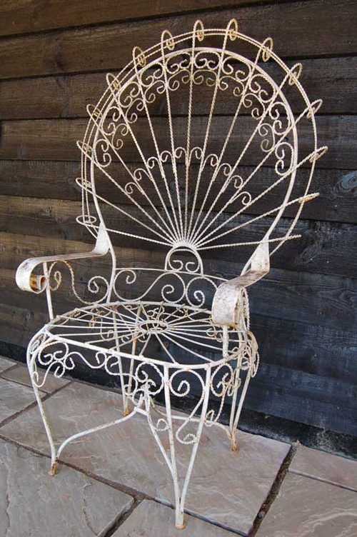Antique Large Wirework Peacock Chair--my mother has two chairs identical this…