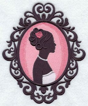 A bride silhouette in a cameo frame machine embroidery design.