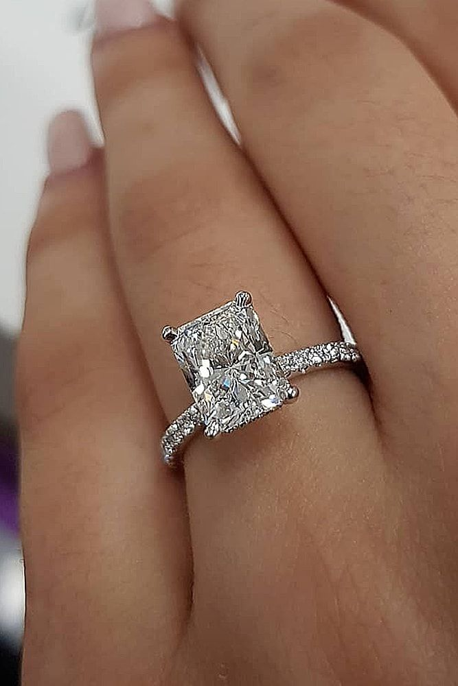 ring trends radiant cut solitaire pave band white gold diamond