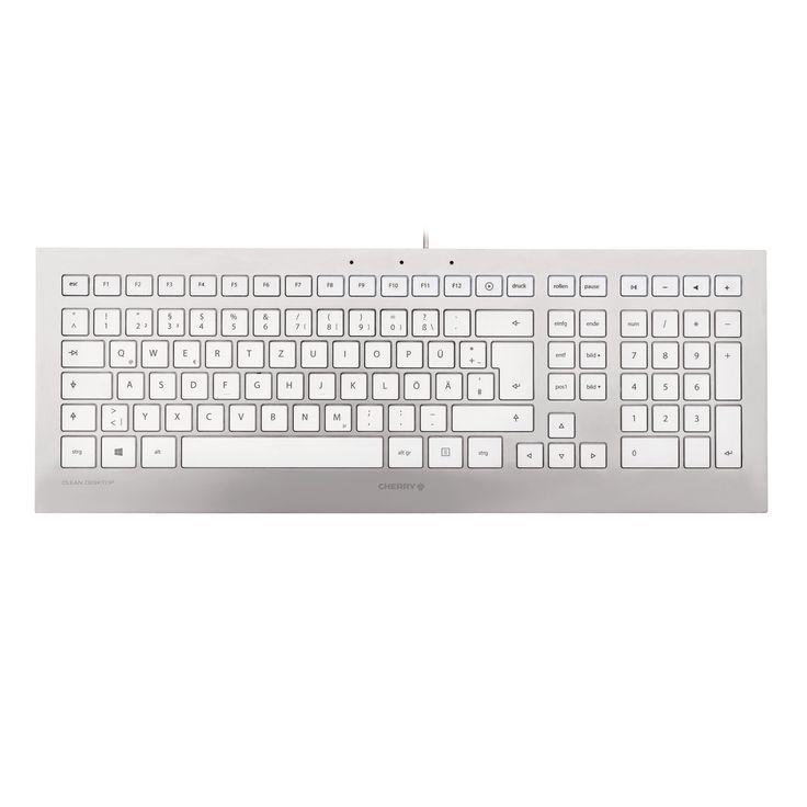 Clavier PC Cherry Strait Corded Keyboard - Suisse (argent/blanc) Clavier chiclet multimédia ultra-plat à frappe silencieuse (QWERTZ, Suisse)