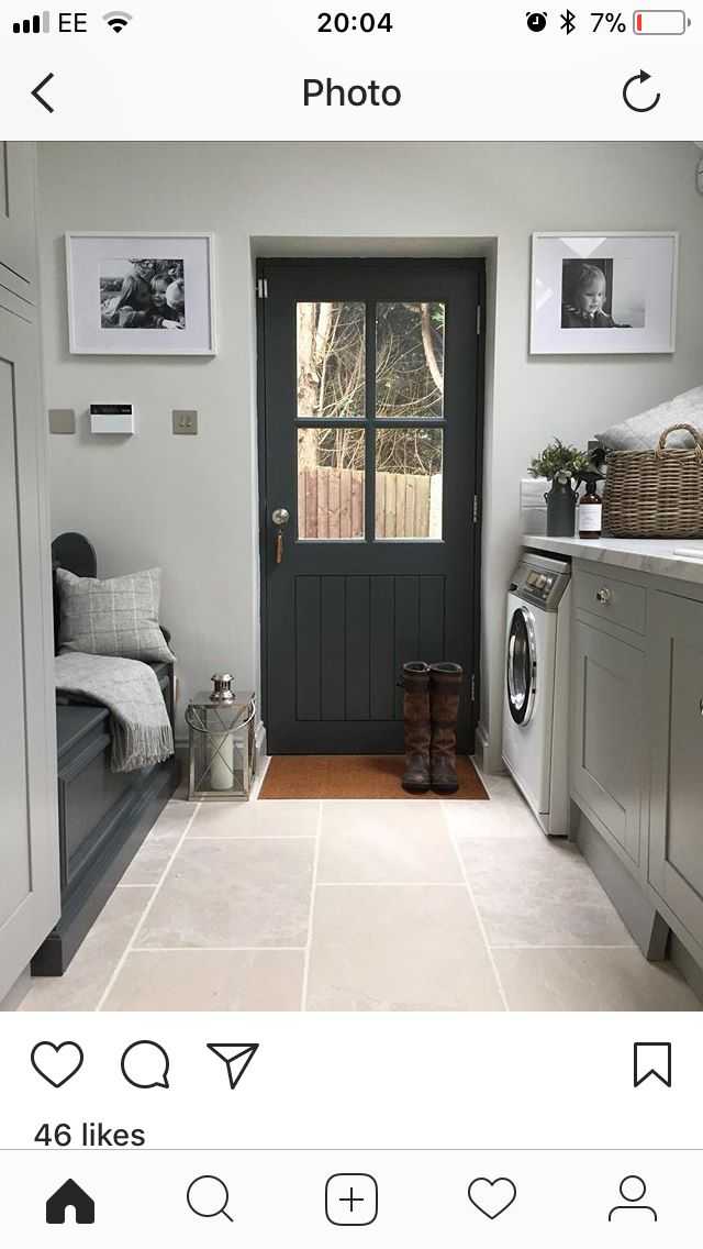 Bench in utility room