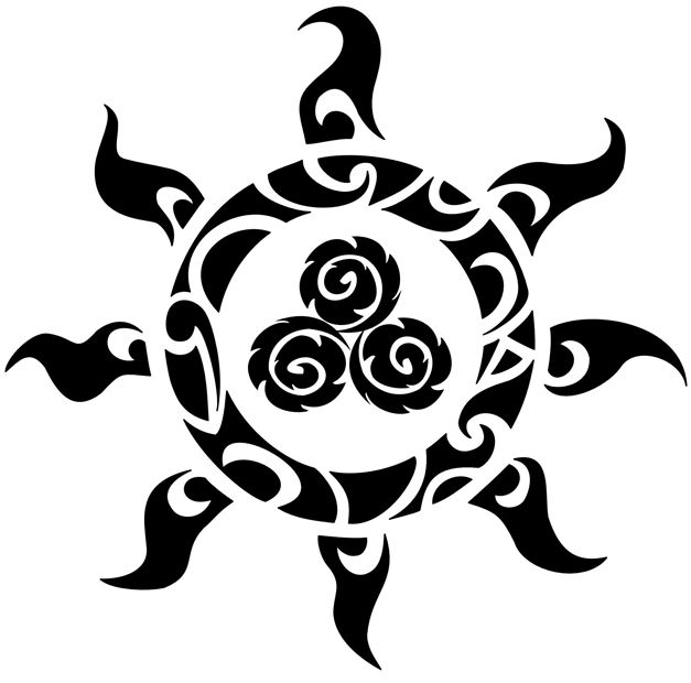 Tribal Sun Tattoos | Tribal Celtic Triskell Sun Tattoo | Tattoo Tabatha