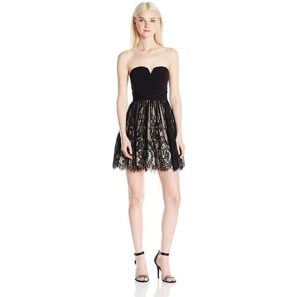Speechless Junior's Party Short Prom Dress ($59) ❤ liked on Polyvore featuring dresses, strapless dress, cocktail prom dress, short party dresses, going out dresses and cocktail party dress