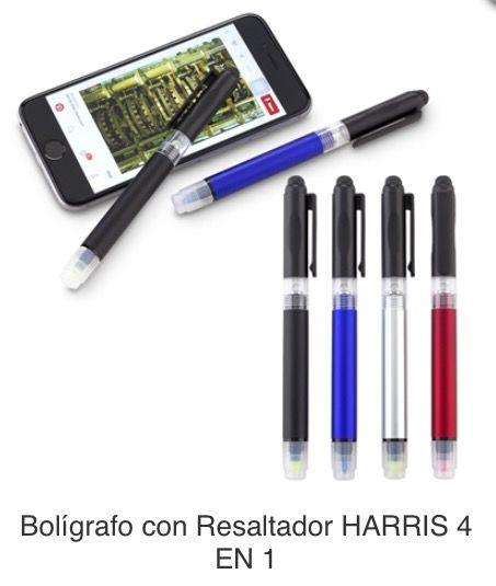 Bolígrafo Plástico con Stylus, Linterna y Resaltador Tipo de Producto: IMPORTADO.  Medidas: 14 cm largo. Área de Marca: 2.7 cm Técnica de Marca: Tampografía.  Colores Disponibles: Azul, Negro, Rojo y Silver.