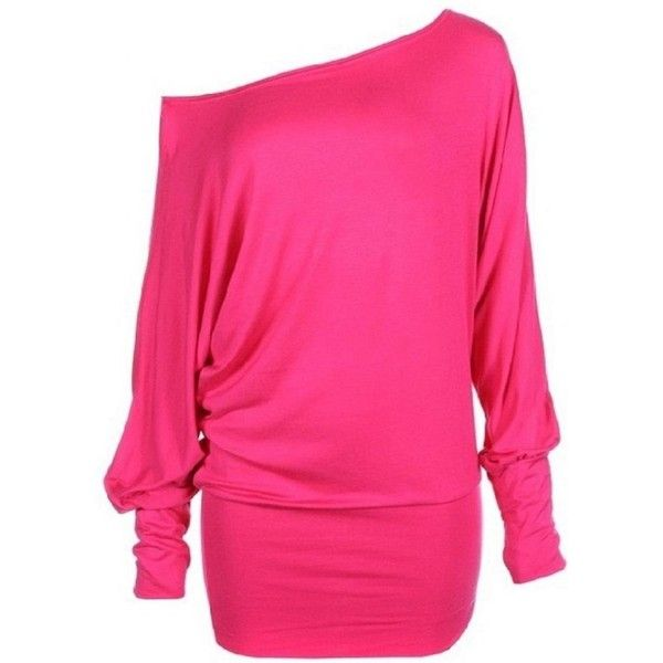 Funky Boutique Womens PLUS SIZE Batwing Top Plain Long Sleeve Off... ($0.65) ❤ liked on Polyvore featuring tops, womens plus tops, pink off the shoulder top, pink plus size tops, batwing tops and henley tops