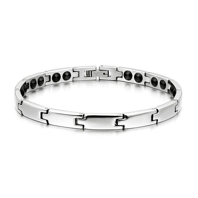 OPK Ms. Love Rhinestone CZ & Energy Magnetic Stone Anti-Fatigue & Radiation Titanium Bracelet Bangles Best Gift! 3otii1r