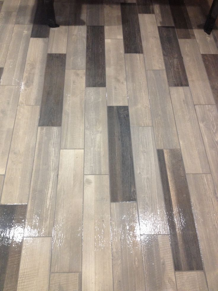 Multi Colored Wood Plank Tile With Pewter Colored Grout