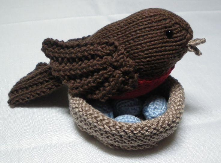 knit bird, nest and eggs