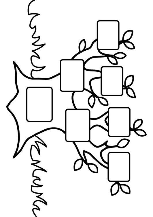 Página para colorir árvore genealógica vazia. As crianças aprendem sobre árvore genealógica vazia enquanto colorem | Imagens para a escola e educação - img 26875.