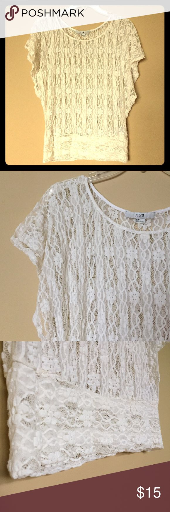 """🎀Cute F21 Floral Lace Shirt!🎀 Super cute sheer floral lace blouse from Forever 21! Off-white/cream, batwing short sleeves. Comfy & stretchy! Great with a cami! Small/Petite. Very good, gently loved condition.🔸Material: 97% Nylon, 3% Spandex.🔸Measurements: Bust: 20"""" flat/40"""" full. Length from shoulder: 23"""".💃Offers Welcome & Bundling Discounts Available!💃 Forever 21 Tops Blouses"""