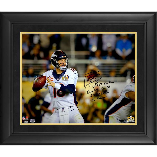 """Peyton Manning Denver Broncos Fanatics Authentic Framed Autographed 16"""" x 20"""" Super Bowl 50 Champions Action Photograph with Super Bowl 50 Stat Inscriptions - Limited Edition of 18 - $1879.99"""
