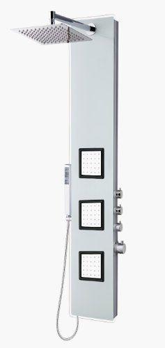 "Blue Ocean 59"" Aluminum SPA8659 Thermostatic Shower Panel Tower with Rainfall Shower Head, 3 Body Nozzles, and Handheld Shower Head Ocean,http://www.amazon.com/dp/B00IAIAAYA/ref=cm_sw_r_pi_dp_SIGGtb1DZH22CZA4"