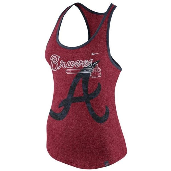 Nike Women's Atlanta Braves Marled Racer Tank ($35) ❤ liked on Polyvore featuring tops, red, racer back tank tops, nike tank, red racerback tank, racerback tank top and holiday tops