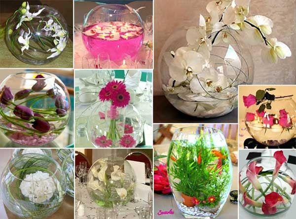 centres de table dans les boules d'aquarium