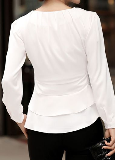 179bc456e77f Long Sleeve White Tie Front Layered Blouse on sale only US$32.06 now, buy cheap  Long Sleeve White Tie Front Layered Blouse at liligal.com