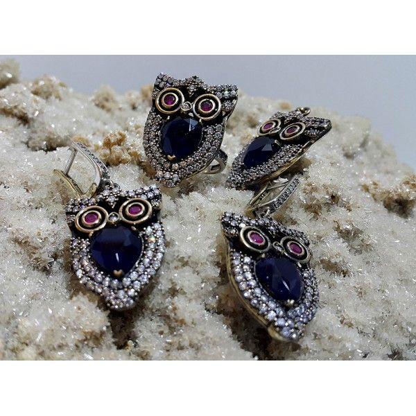 Silver Handmade Owl Set #silver #set #ottoman #wholesale #women #fashion #turkish #handmade #jewelry #jewellers #jewellery #jewel #ruby #olw #emerald #sapphire #gemstone