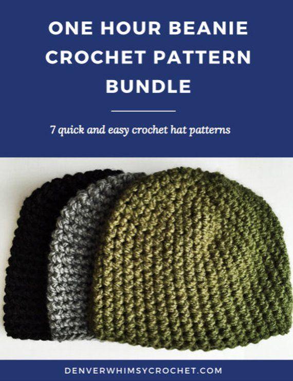 b6558aee0f7 One Hour Beanie Crochet Pattern Bundle - Easy Crochet Hat Pattern ...