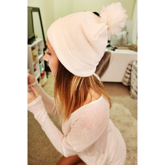 White beanie with Pom Pom Brand new with tags   only worn for this picture Accessories Hats