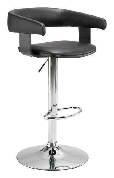 Fuel Bar Chair in Black Leatherette on Chromed Steel Base