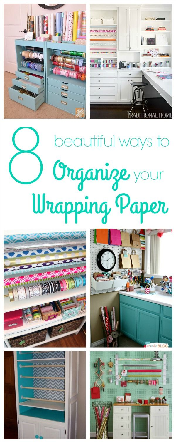 Gift wrap storage ideas - 8 Great Ideas For Organizing Wrapping Paper