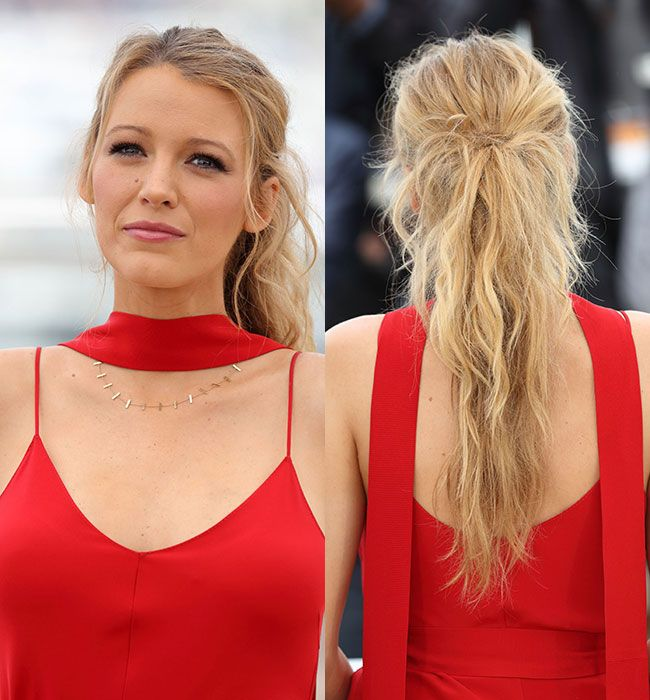 Blake Lively gave us major ponytail goals as she stepped out with this elegant tousled style, pairing the look with dramatic eyelashes and pink lipstick.  Photo: © Getty Images