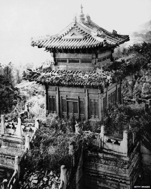 A temple in the ruins of the Old Summer Palace, Beijing, China, circa 1860.   In #China? Try www.importedFun.com for award winning #kid's #science  