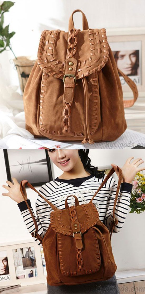 Fashion Original Weave Braid Brown Backpack for big sale ! #school #college #backpack #rucksack #bag #bow #cute #girl #weave