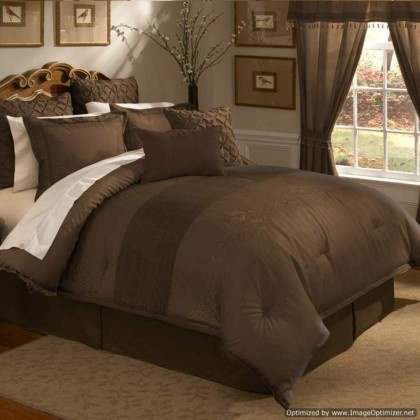 veratex lantana chocolate brown comforter set - Brown Themed Bedroom Designs