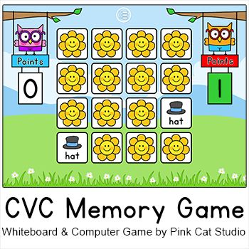 Practice CVC words with this engaging phonics memory / concentration game for interactive whiteboards and computer stations. You can play as a class using the whiteboard or in smaller groups or individually on the computer. Your students will love the fun animated owl characters who keep score for the players or teams. By Pink Cat Studio