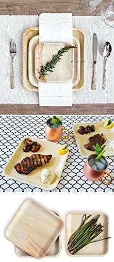 Bamboo Plates Wedding. Leafily Palm Leaf Plates - 10 inch Square - Heavy Duty - Elegant - 100% Compostable - Better than Bamboo or Wood - Disposable - Biodegradable - Premium Party Plates - USDA Certified - 22 Count.  #bamboo #plates #wedding #bambooplates #plateswedding