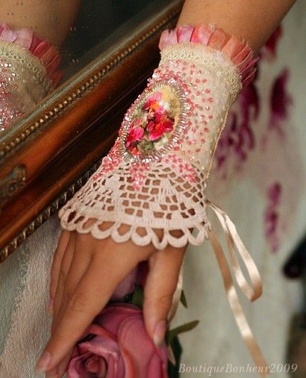 hand embroidered cuff  with hand painted cameo