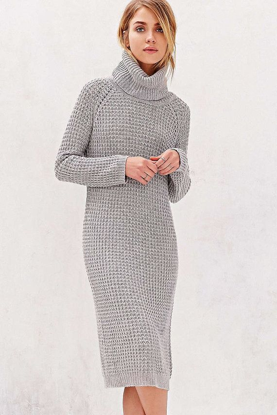 Hand knit turtleneck dress, BANDofTAILORS, Etsy