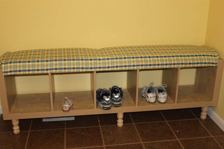 The shoe cubby/bench I modified from Ikea for the Mudroom