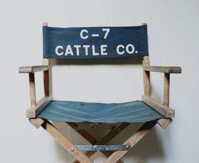 Vintage Directors Chair Blue Canvas Folding Chair  by Etsplace, $55.00