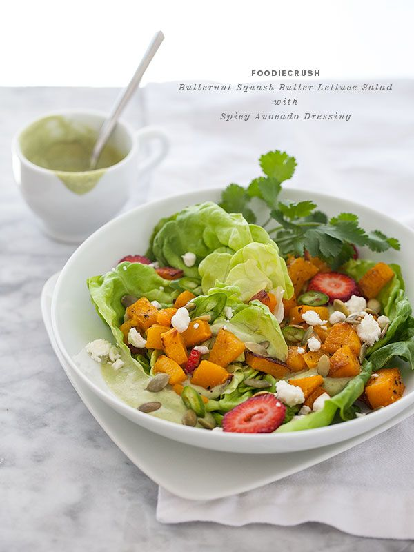 Roasted Butternut Squash Butter Lettuce Salad with Spicy Avocado Dressing – foodiecrush
