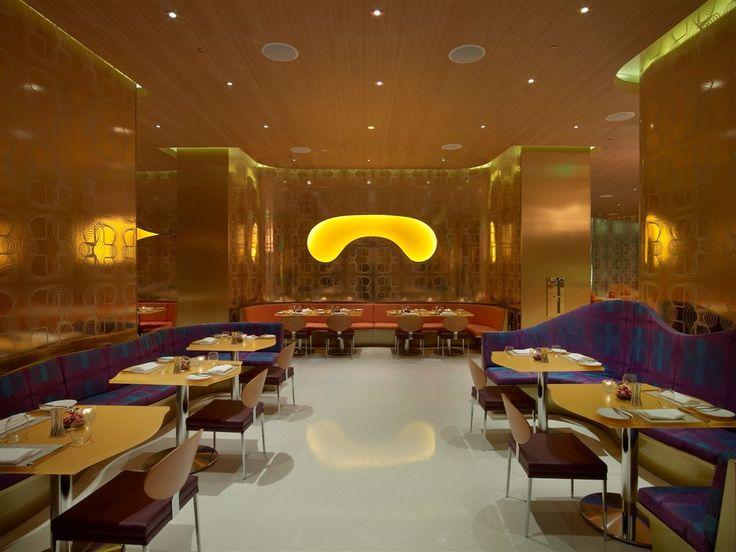 Opulent Luxury Restaurant Interior Design, Gold Pattern Walls, Purple And  Blue Booths, Red