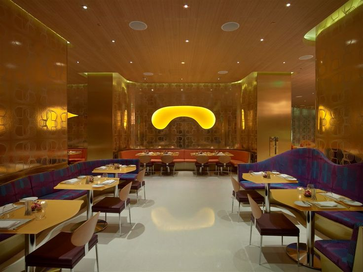 Opulent luxury restaurant interior design gold pattern